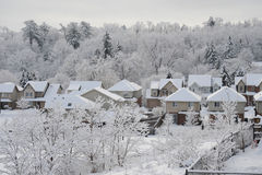 Winter morning in the small town Stock Photo