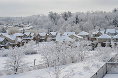 Winter morning in the small town Stock Image