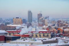 Winter morning at the smoky Calgary, Travel Alberta, Canada, Nort America, Arctic winter, extreme weather, covered under snow stock photo