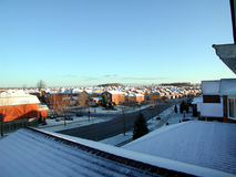 Winter morning with snow. Taken  from the bedroom of a house Stock Image