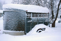 Winter Morning Snowbound Horse Trailer Royalty Free Stock Photography