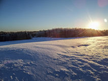 Winter morning. Sunrise at beautiful winter morning in finland Royalty Free Stock Photo