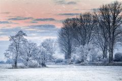 Winter morning in Teufelsmoor near Bremen Germany. At sunrise Royalty Free Stock Photo
