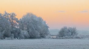 Winter morning in Teufelsmoor near Bremen Germany. At sunrise Stock Photos