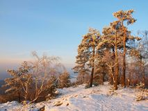 Winter morning view to South West, blue misty sky and light from sun. Royalty Free Stock Images