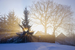 Winter morning in village with sun and fog Stock Photography