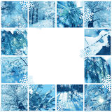 Winter mosaic frame. Winter frame design - mosaic of several photos Royalty Free Stock Images