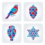 Winter mosaic icons. Set of 4 vector winter mosaic icons royalty free illustration