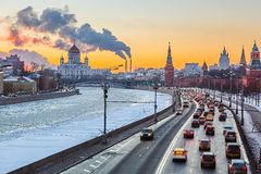 Winter in Moscow. Sunset over Moscow river, Moscow Royalty Free Stock Images
