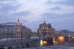 Winter Moscow twilight. In the twilight of the city changes on its own Stock Photos