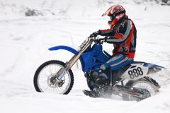 Winter Motocross Stockbild