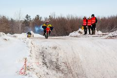 Winter Motocross competitions among children. 10.03.2013, city of Orenburg, Southern Ural, Russia Royalty Free Stock Image
