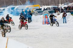 Winter Motocross competitions among Juniors Stock Image