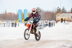 Winter Motocross competitions among Juniors. 10.03.2013, city of Orenburg, Southern Ural, Russia Royalty Free Stock Image