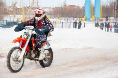 Winter Motocross competitions among Juniors Royalty Free Stock Photography