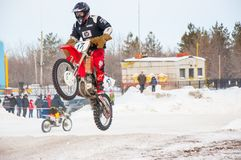 Winter Motocross competitions among Juniors. 10.03.2013, city of Orenburg, Southern Ural, Russia Stock Photography