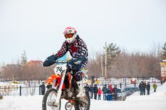Winter Motocross competitions among Juniors Stock Photo