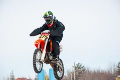 Winter Motocross competitions among Juniors. 10.03.2013, city of Orenburg, Southern Ural, Russia Royalty Free Stock Photography