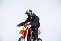 Winter Motocross competitions among Juniors. 10.03.2013, city of Orenburg, Southern Ural, Russia Royalty Free Stock Images