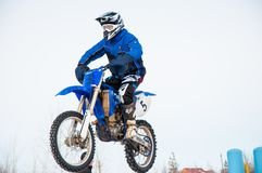Winter Motocross competitions among Juniors. 10.03.2013, city of Orenburg, Southern Ural, Russia Stock Image