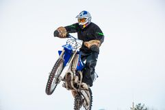 Winter Motocross competitions among Juniors. 10.03.2013, city of Orenburg, Southern Ural, Russia Stock Photo