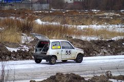 Winter motor rally-cross in Tver Royalty Free Stock Photography