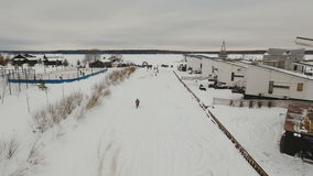 Winter motorcycle race. stock video