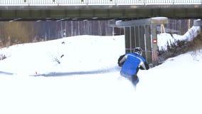 Winter motorcycle race. stock footage