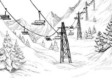 Winter mountain. Mountain landscape and ski lift sketch Stock Photography