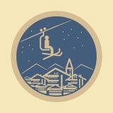 Winter mountain adventure or ski resort sign or symbol. Vector illustration Stock Images