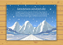 Winter mountain background with falling snow. Climbing, hiking or extreme winter sports banner. Mountaineering or travelling card design. EPS10 vector Royalty Free Stock Photo
