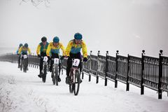 Winter mountain bike competition Royalty Free Stock Photography