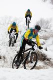 Winter mountain bike competition Stock Photo