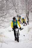 Winter mountain bike competition Stock Photography