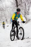 Winter mountain bike competition Royalty Free Stock Photo