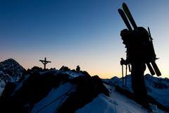 Winter mountain climbing Stock Photos