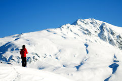 Winter mountain climbing Royalty Free Stock Image