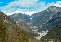 Winter mountain country landscape  (Austria). Stock Photos