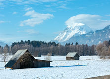 Winter mountain country landscape(Austria). Royalty Free Stock Images