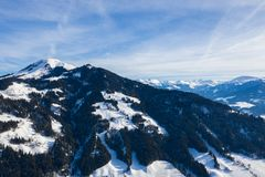 Winter mountain country panorama with forest and valley.  stock photos