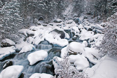 Winter mountain creek cascades and snowfall Stock Images