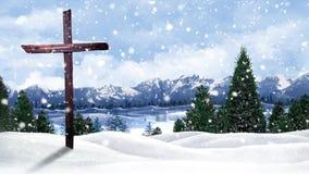 Winter Mountain Cross Background Loop stock video