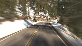 Winter mountain driving stock footage