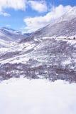 Winter mountain highway Stock Photo