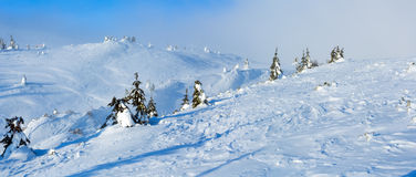 Winter mountain hill panorama. Stock Photos