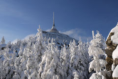 Winter mountain. Winter Jizerske mountains, with Jested tower Royalty Free Stock Photos