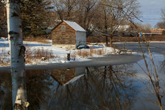 Winter mountain lake scene with cabin in Berkshires Stock Photos