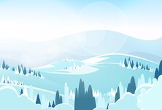 Winter Mountain Landcape Flat Icon Vector Stock Image