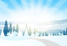 Winter Mountain Landcape Flat Icon Vector Stock Photography