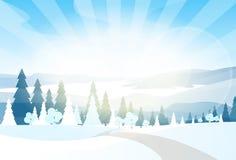 Winter mountain landcape flat icon vector Stock Photography